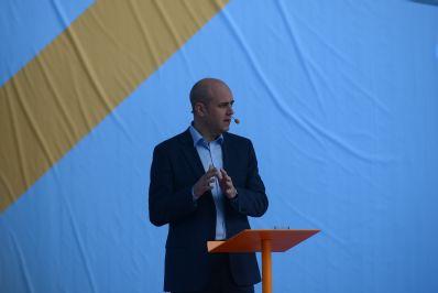 Statsministern och Moderaternas partiledare Fredrik Reinfeldt talar i Almedalen