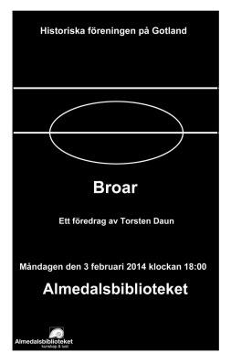 affisch - diskussionsafton, Torsten Daun - Stenbroar på Gotland
