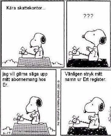 Snobben skriver brev till skattemyndigheten, vill ej vara med i deras register...