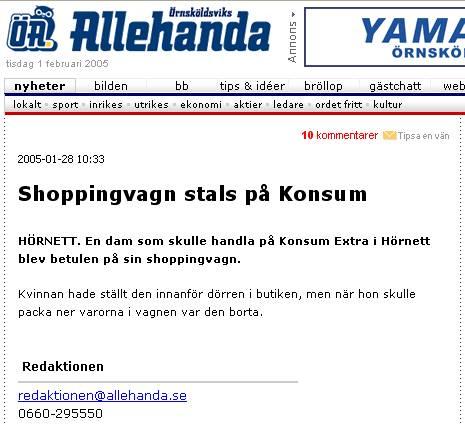 Notis - shoppingvagn sulen - Örnsköldsviks Allehanda